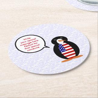 Porta-copo De Papel Redondo Sr. Pinguim do feriado dos Estados Unidos
