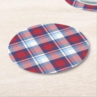 Porta-copo De Papel Redondo Teste padrão azul branco vermelho tradicional do