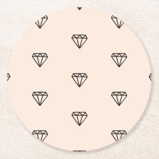 Porta-copo De Papel Redondo Teste padrão chique bonito do rosa do diamante