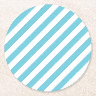 Porta-copo De Papel Redondo Teste padrão diagonal azul e branco das listras