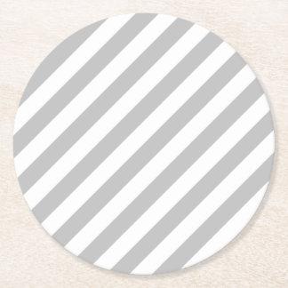 Porta-copo De Papel Redondo Teste padrão diagonal do cinza e o branco das