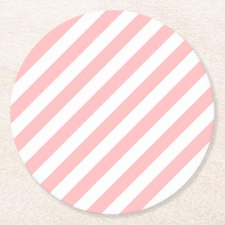 Porta-copo De Papel Redondo Teste padrão diagonal do rosa e o branco das