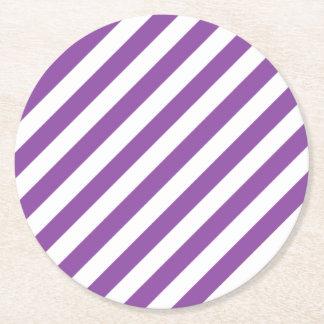 Porta-copo De Papel Redondo Teste padrão diagonal roxo e branco das listras