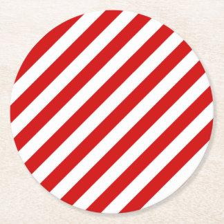 Porta-copo De Papel Redondo Teste padrão diagonal vermelho e branco das