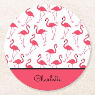 Porta-copo De Papel Redondo Teste padrão do flamingo