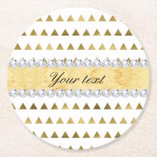 Porta-copo De Papel Redondo Teste padrão e diamantes dos triângulos da folha