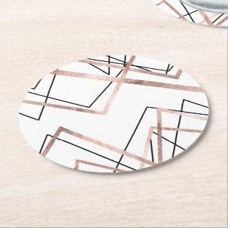 Porta-copo De Papel Redondo Teste padrão linear branco do abstrato do