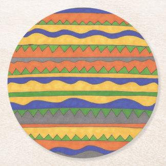 Porta-copo De Papel Redondo Teste padrão tribal asteca colorido