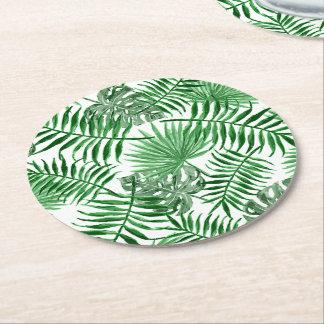 Porta-copo De Papel Redondo Teste padrão verde tropical do verão das folhas de