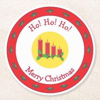 Porta-copo De Papel Redondo Velas e azevinho do Feliz Natal