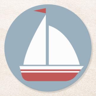 Porta-copo De Papel Redondo Veleiro branco & azul vermelho náutico - praia do