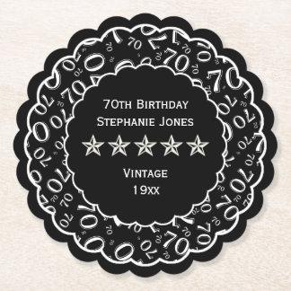 Porta-copo De Papel tema preto/branco da festa de aniversário do 70 do