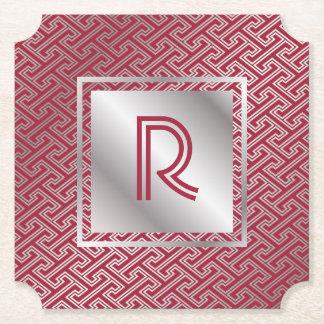 Porta-copo De Papel Teste padrão de bloqueio de prata do vermelho de