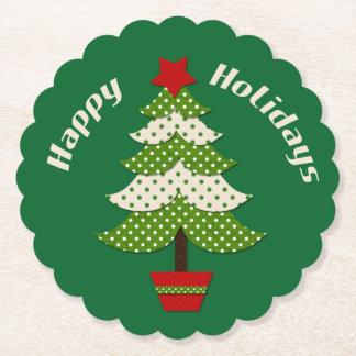 Porta-copo De Papel Verde da árvore de Natal de Polkadot