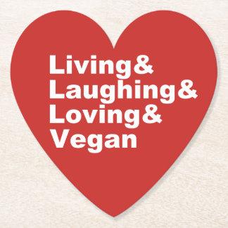 Porta-copo De Papel Vida e riso e amor e Vegan (brancos)