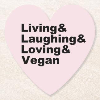 Porta-copo De Papel Vida e riso e amor e Vegan (preto)