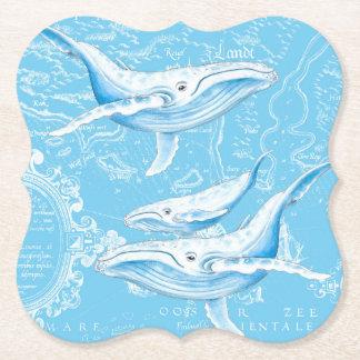 Porta-copo De Papel Vintage da família das baleias azuis