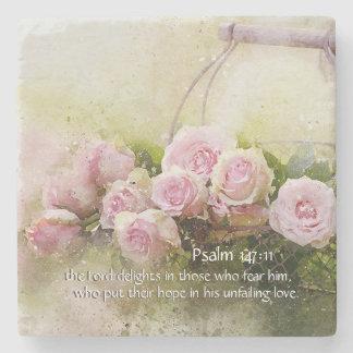 Porta-copo De Pedra 147:11 do salmo que inspira rosas do rosa do verso