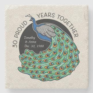 Porta-copo De Pedra 30o Aniversário, pavão e corações de casamento