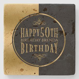 Porta-copo De Pedra 50th preto Aniversário-Geométrico feliz & ouro