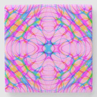 Porta-copo De Pedra Abstrato do teste padrão do caleidoscópio do rosa