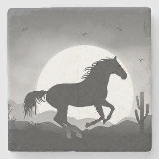 Porta-copo De Pedra Adicione seu cavalo do texto na silhueta preto e