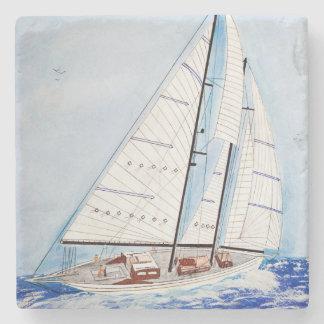 Porta-copo De Pedra aguarela do veleiro