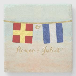 Porta-copo De Pedra Aguarela marítima das bandeiras de sinal do