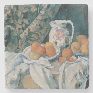 Porta-copo De Pedra Ainda vida com uma cortina por Paul Cezanne