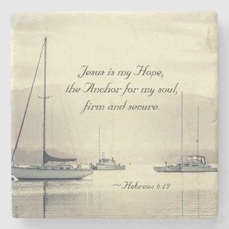 Porta-copo De Pedra Âncora para minha alma, veleiros de Jesus do 6:19