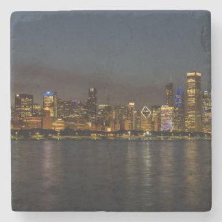Porta-copo De Pedra Arquitectura da cidade da noite de Chicago