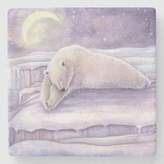 Porta-copo De Pedra Arte da lua da cena do inverno do urso polar do