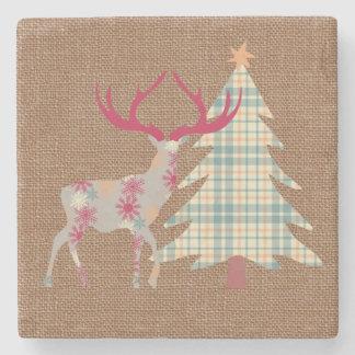 Porta-copo De Pedra Árvore do veado e de Natal de Boho no efeito de