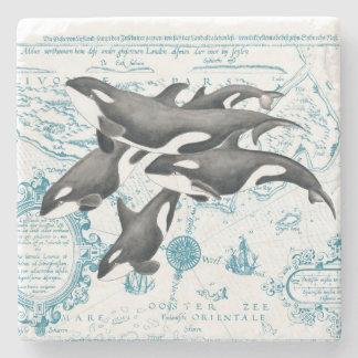 Porta-copo De Pedra Azul antigo da família das baleias da orca