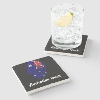 Porta-copo De Pedra Bandeira australiana da impressão digital do toque