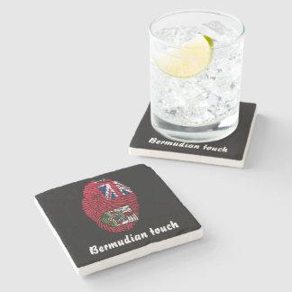 Porta-copo De Pedra Bandeira bermudense da impressão digital do toque