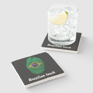 Porta-copo De Pedra Bandeira brasileira da impressão digital do toque