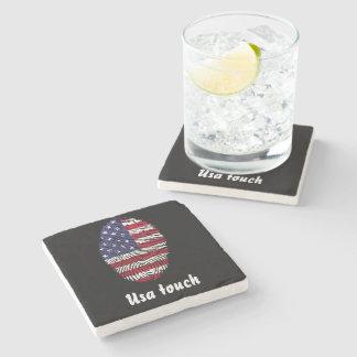 Porta-copo De Pedra Bandeira da impressão digital do toque dos EUA