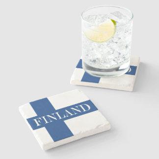 Porta-copo De Pedra Bandeira de Finlandia Suomi transversal azul
