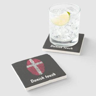 Porta-copo De Pedra Bandeira dinamarquesa da impressão digital do