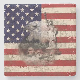 Porta-copo De Pedra Bandeira e símbolos dos Estados Unidos ID155