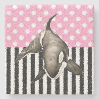 Porta-copo De Pedra Bolinhas do rosa da baleia da orca