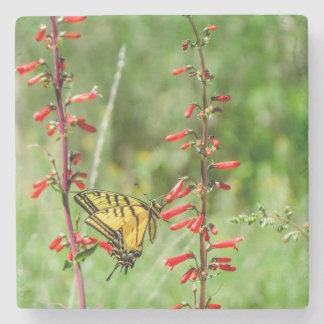 Porta-copo De Pedra Borboleta e Wildflowers de Swallowtail do tigre