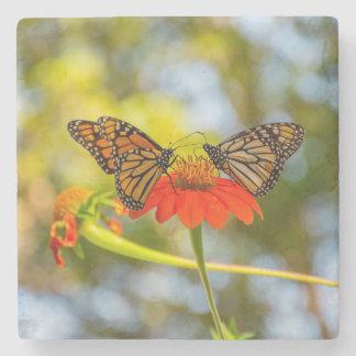 Porta-copo De Pedra Borboletas de monarca em Wildflowers