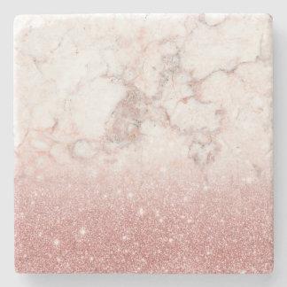 Porta-copo De Pedra Brilho cor-de-rosa Ombre de mármore branco do ouro