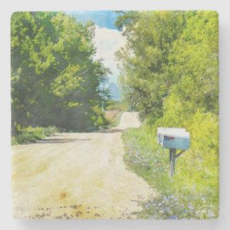 Porta-copo De Pedra Caixa postal rural com wildflowers
