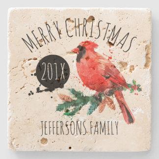 Porta-copo De Pedra Cardeal & visco Natal-Vermelhos alegres