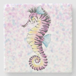 Porta-copo De Pedra cavalo marinho cor-de-rosa