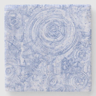 Porta-copo De Pedra Círculos azuis e brancos