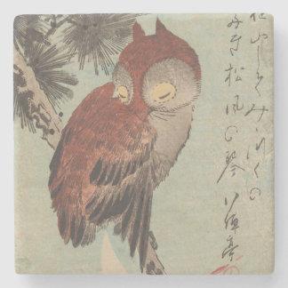 Porta-copo De Pedra Coruja no pinho por Ichiryusai Hiroshige